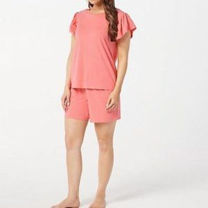 AnyBody Cozy Knit Flutter-Sleeve Top and Short Set